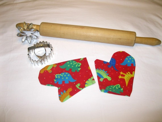 Dinosaur Child Oven Mitts for pretend play