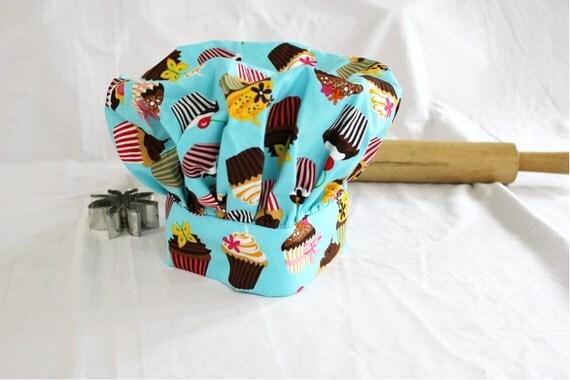Retro Teal Cupcake Child Chef Hat - Medium