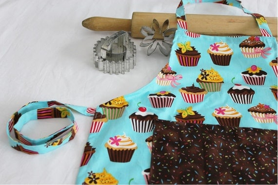 Retro Teal Cupcakes Child Apron with brown sprinkles pocket