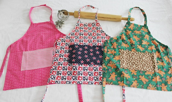 Holiday Pack of Child Aprons - 3 pack - Valentines, Fourth of July and Christmas