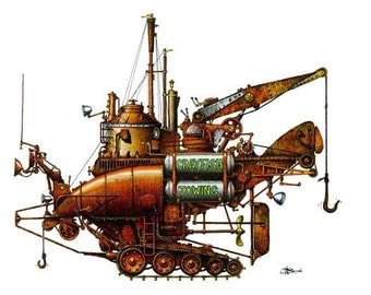 "2 of 12 Fanciful Submarine, Giclee Print on Fine Art Smooth Paper (16""x12"")"