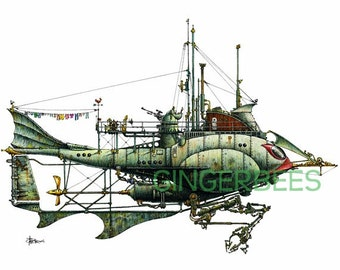 """1 of 12 Fanciful Submarines, Giclee Print on Fine Art Smooth Paper(16""""x12"""")"""
