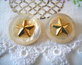 Pair Of Beautiful Shell Buttons With Gold Star