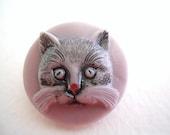 Modern Czech Glass Cat Button