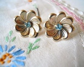 Floral  Earrings Gold Tone With Sky Blue Rhinestones