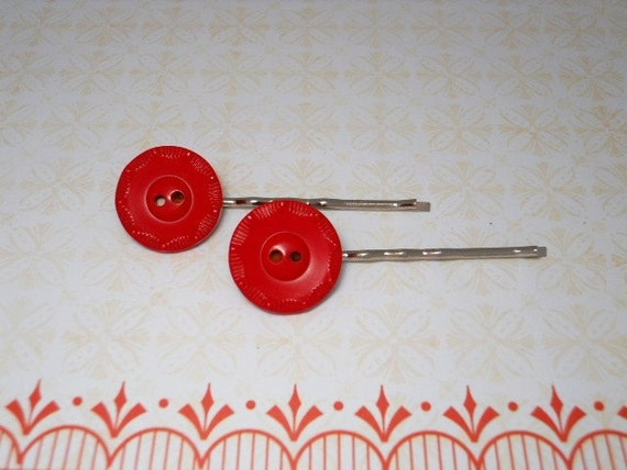 Red Button Bobby Pins - Vintage Buttons - SALE