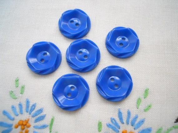 Set Of 6 Blue Vintage Plastic Buttons