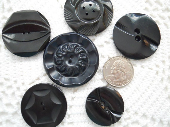 Large Black Plastic And Celluloid Vintage Buttons