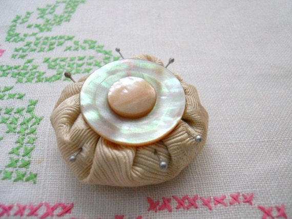 Antique Pin Cushion With Mother Of Pearl Embellishments