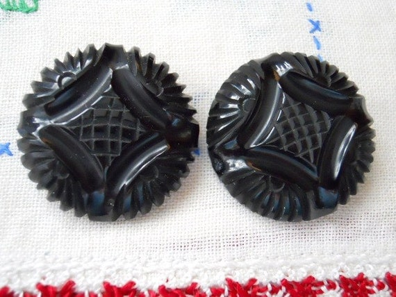 Carved Black Coat Buttons - Huge - Vintage