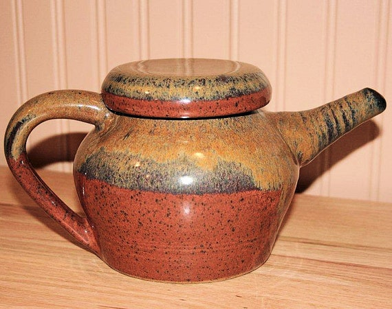 Pottery Teapot in Rich Autumn & Warm Yellow