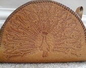 ON SALE Unique 70s hand tooled leather wristlet/small clutch purse