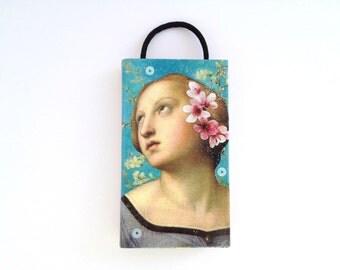 Virgo - matchbox art - Renaissance woman - altered art - spring - turquoise pink