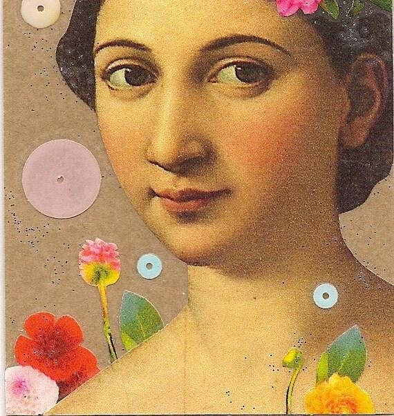 collage art - bookmark - Bel Canto - garden flowers art