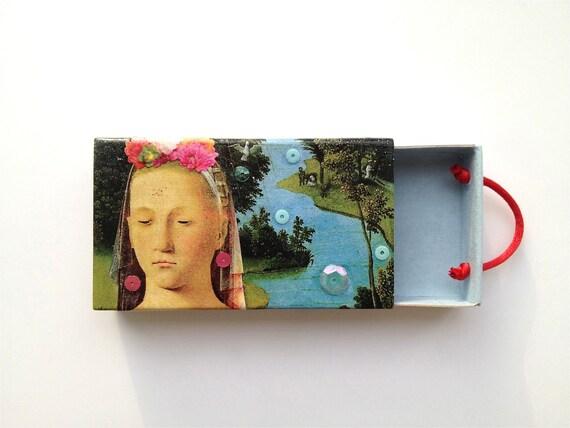 Edith Swan Neck - matchbox art - collage art - woman landscape art