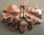 Art Nouveau Brooch Repousse Acorn And Oak Leaves Antique Pin