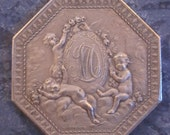 Antique French Sterling Silver Medal Three Cherubs  Signed  Lorthior  SS41