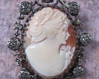 Vintage Sterling Silver And Marcasite Hand Carved Lady Shell Cameo Brooch