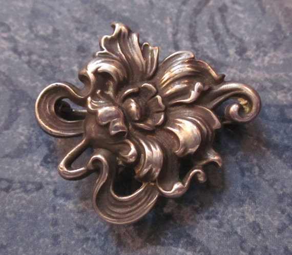 Art Nouveau Flower Fob Pin Antique Sterling Silver By Link And Angell Company Circa 1900