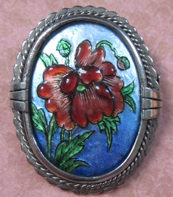 Antique Limoges Enamel Brooch French Floral Signed G Funck Circa 1920s