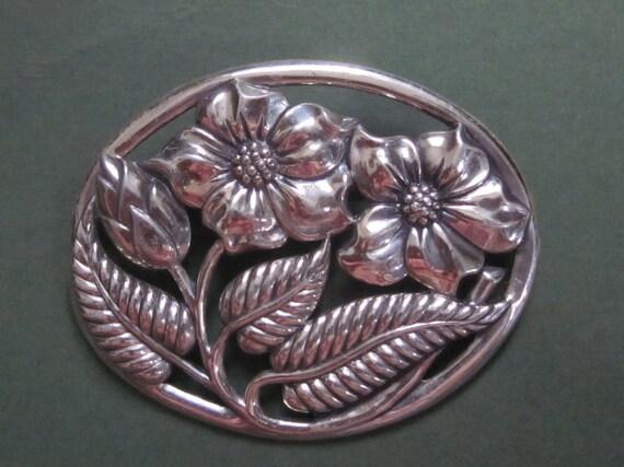 Antique Danecraft Sterling Silver Oval Floral Brooch