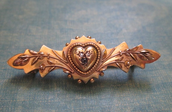 Victorian Heart And Flowers Brooch In 15 Carat Gold