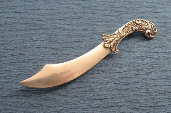 Antique Sword Brooch Scimitar With Floral Handle Sterling Silver
