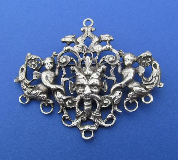 Antique Gothic Pendant 800 Silver Bacchus