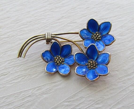 Norway Sterling Enamel Brooch Vintage Three Flower Pin
