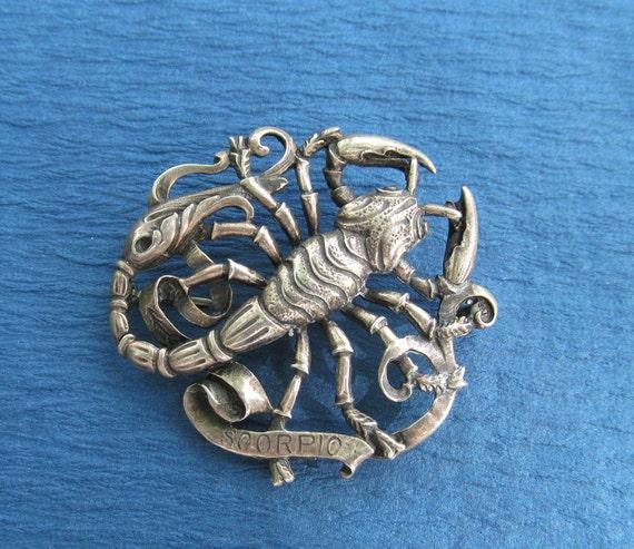 Vintage Scorpio Brooch Cini Sterling Silver