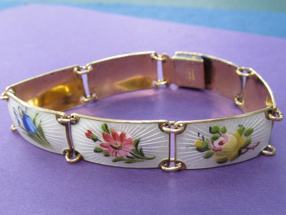 Norway Sterling Silver Enamel Flower Bracelet Antique Finn Jensen Guilloche Jewelry