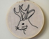 Circus Sideshow Gaff Embroidery: The Jackalope. Currently on sale 40% off!