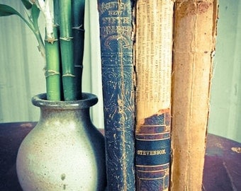 Three Hard Cover Antique Books, Super Shabby from the 1800's