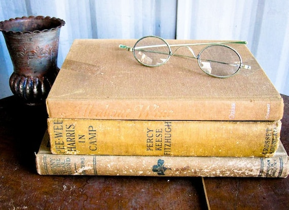 Three Hard Cover Vintage and Antique Books, Khaki
