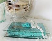 ON SALE  Vintage shabby chic trinket box aqua turquoise shabby chic glass mirror metal ornate filigree
