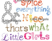 """Girl Art, Sugar and Spice and Everything Nice, 8x10"""" print, for nursery, or playroom, or as a gift, also have the boy  version"""