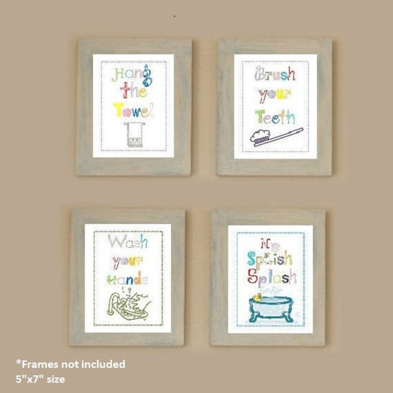 Bathroom rules for kids Art Prints, Set of Four  5x7 prints, great for kids bathroom or adult bathroom rules!