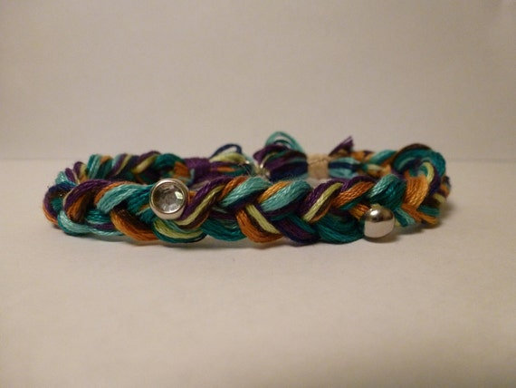 Braided Friendship Bracelet- Silver and Rhinestone Studs