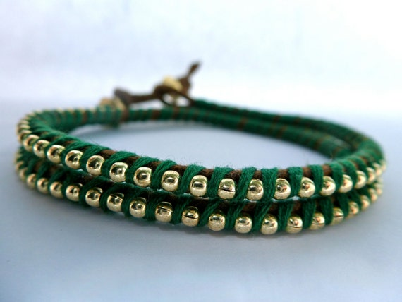 Ball Chain Double Wrap Bracelet: Green Thread with Gold Ball Chain