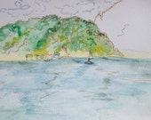 St. Lucia Landscape: Original Watercolor