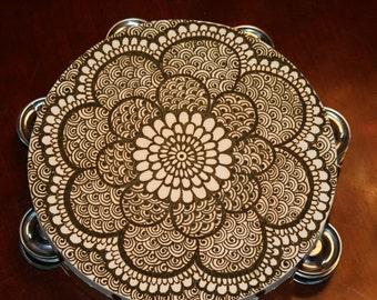 Henna Mandala Tambourine, intricate detail, floral pattern