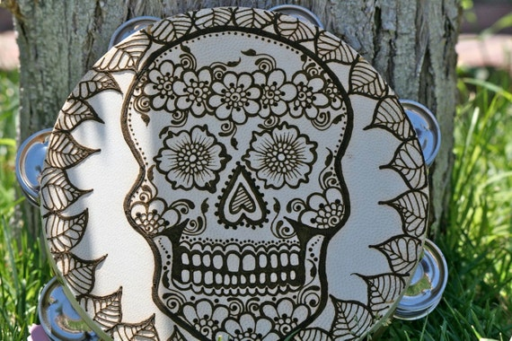 Henna Sugar Skull Tambourine, Day of the Dead