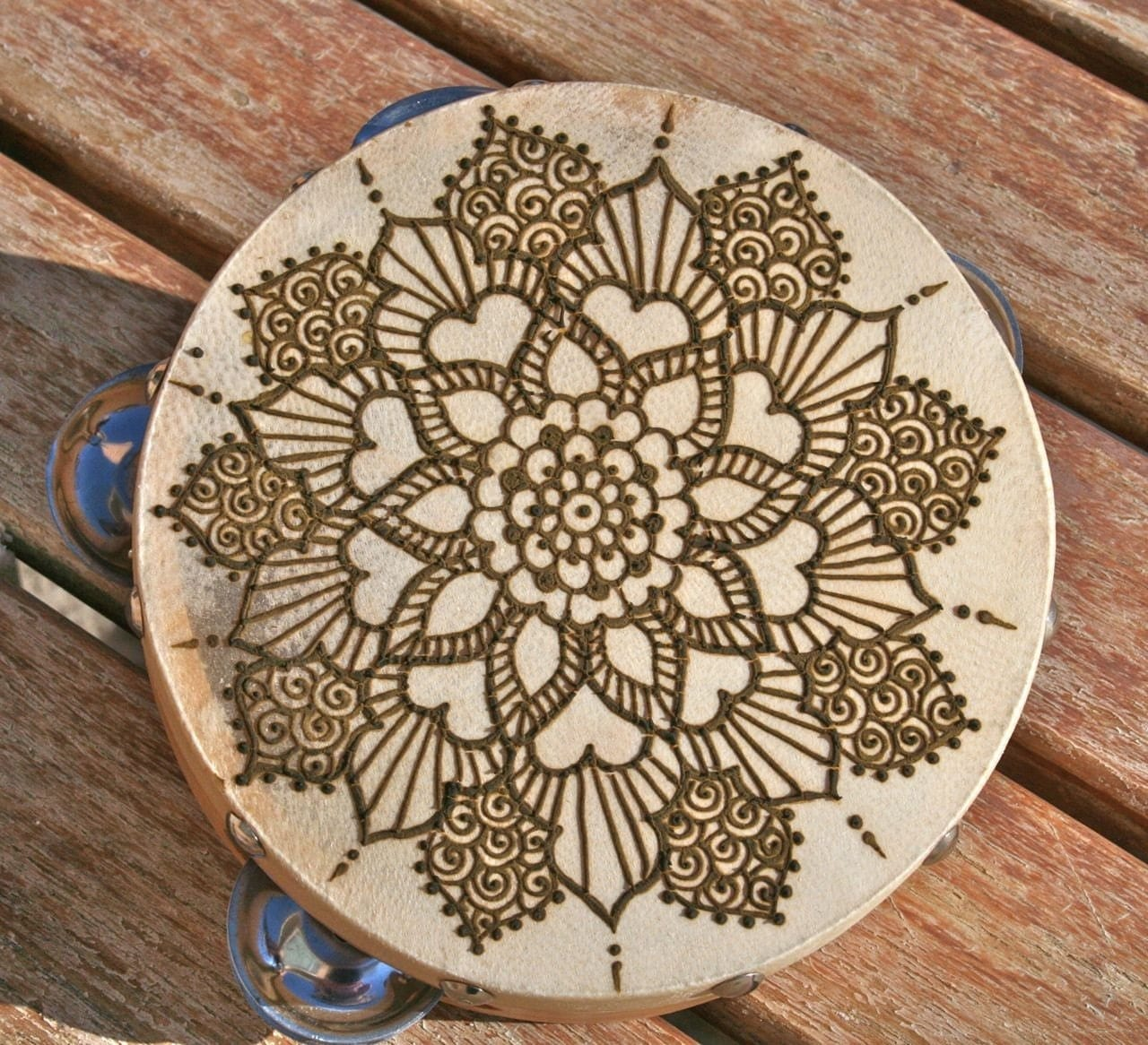 Henna Mandala Tambourine by RedwoodHenna on Etsy
