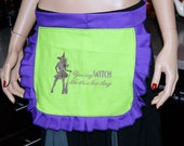 Purple Green Sexy Witch Embroidered Apron MTCoffinz --- Ready to Ship