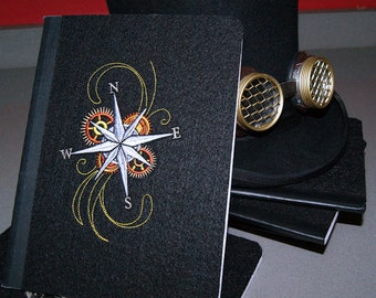 SteamPunk Compass Rose Embroidered Blank Journal Notebook MTCoffinz