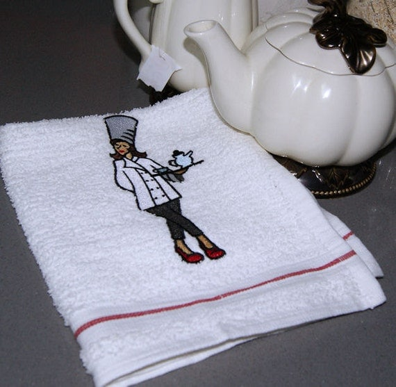 Coffee or Tea Service Chef Embroidered Terry Dish Towel MTCoffinz --- ready to ship
