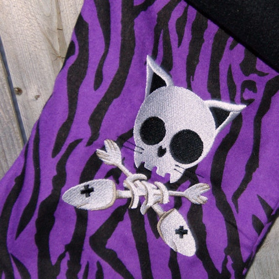 Purple Zebra Kitty Crossbones Embroidered Stocking Mtcoffinz