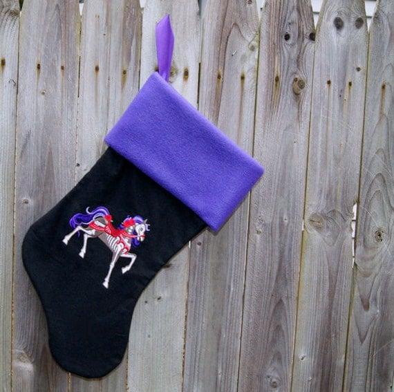 Carousel Horse Skeleton Embroidered Black Stocking MTCoffinz