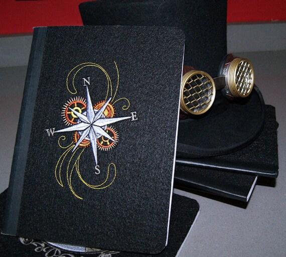 SteamPunk Compass Rose Embroidered Blank Journal Notebook MTCoffinz
