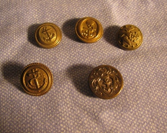 Five Small Cuff Size Navy Anchor Brass Buttons